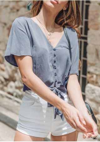 Solid Button V-Neck Tie Blouse without Necklace