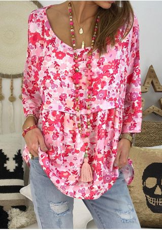 Floral Ruffled O-Neck Blouse without Necklace