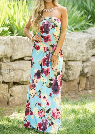 Floral Strapless Maxi Dress without Necklace