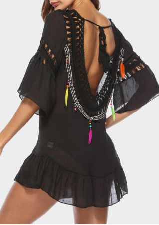 Feather Tie Backless Cover Up