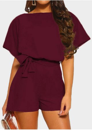 Solid Hollow Out Romper