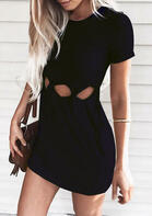 Solid Hollow Out Bodycon Dress - Black Bikini Fashion Wrap Straps Halter