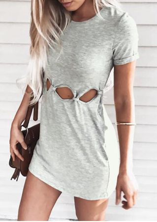 Solid Hollow Out Bodycon Dress L ight Gray