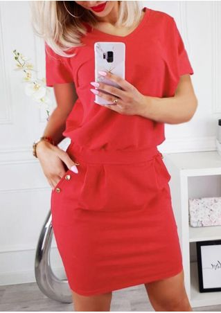 Solid Pocket V-Neck Bodycon Dress