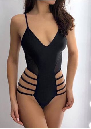 Solid Deep V-Neck Swimsuit