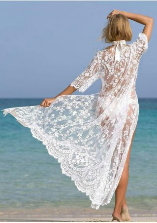 Solid Lace Floral Cover Up