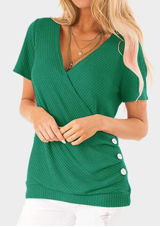 Solid Button Wrap V-Neck Blouse without Necklace