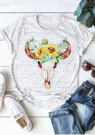 Floral Bull Skull Short Sleeve T-Shirt
