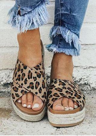 Leopard Printed Cross Platform Slippers