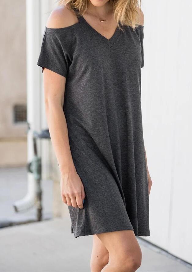 96a1f5c7cecb Solid Cold Shoulder Mini Dress - Dark Gray - Bellelily