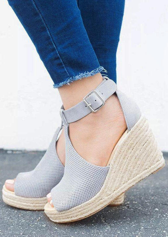 Solid Buckle Strap Peep Toe Wedge Sandals