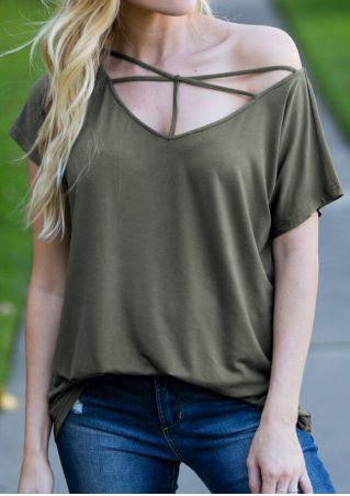 Solid Criss-Cross V-Neck Blouse