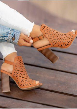 Solid Buckle Strap Peep Toe Heeled Sandals