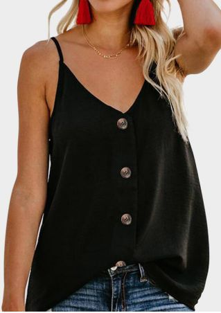 Solid Button V-Neck Camisole without Necklace