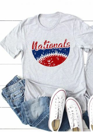 Nationals Baseball O-Neck T-Shirt Tee