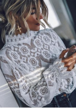 Solid Lace Floral Long Sleeve Blouse
