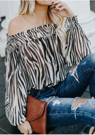 Zebra Pattern Off Shoulder Blouse without Necklace