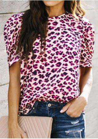 Leopard Printed O-Neck Blouse