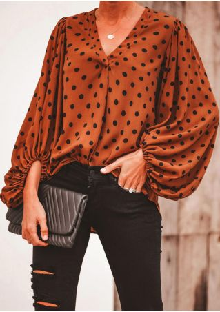 Polka Dot V-Neck Blouse without Necklace