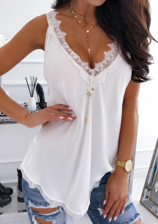 Solid Lace Splicing V-Neck Tank White