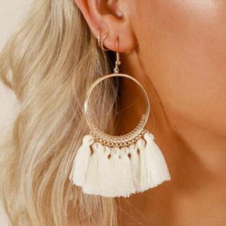 Ring Tassel Earrings - White