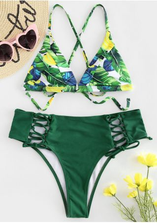 Leaf Lace Up Sexy Bikini Set