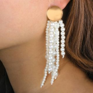 Beading Long Tassel Earrings
