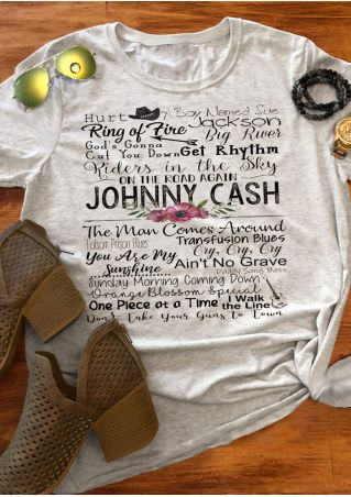 Johnny Cash O-Neck T-Shirt Tee