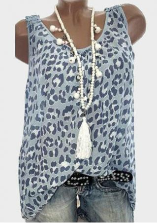 Leopard Printed O-Neck Tank without Necklace