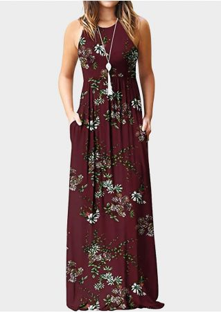 Floral Pocket Sleeveless Maxi Dress - Burgundy
