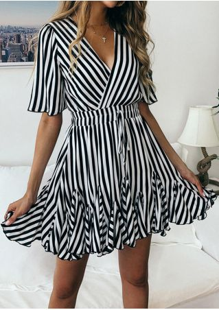 Striped Deep V-Neck Mini Dress without Necklace