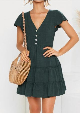 Solid Button Deep V-Neck Mini Dress