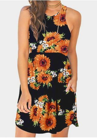 Sunflower Pocket Sleeveless Mini Dress without Necklace