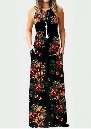 Floral Pocket Sleeveless Maxi Dress - Black