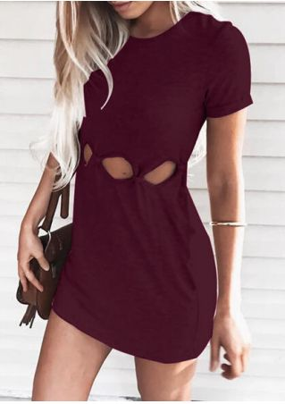 Solid Hollow Out Mini Dress Burgundy