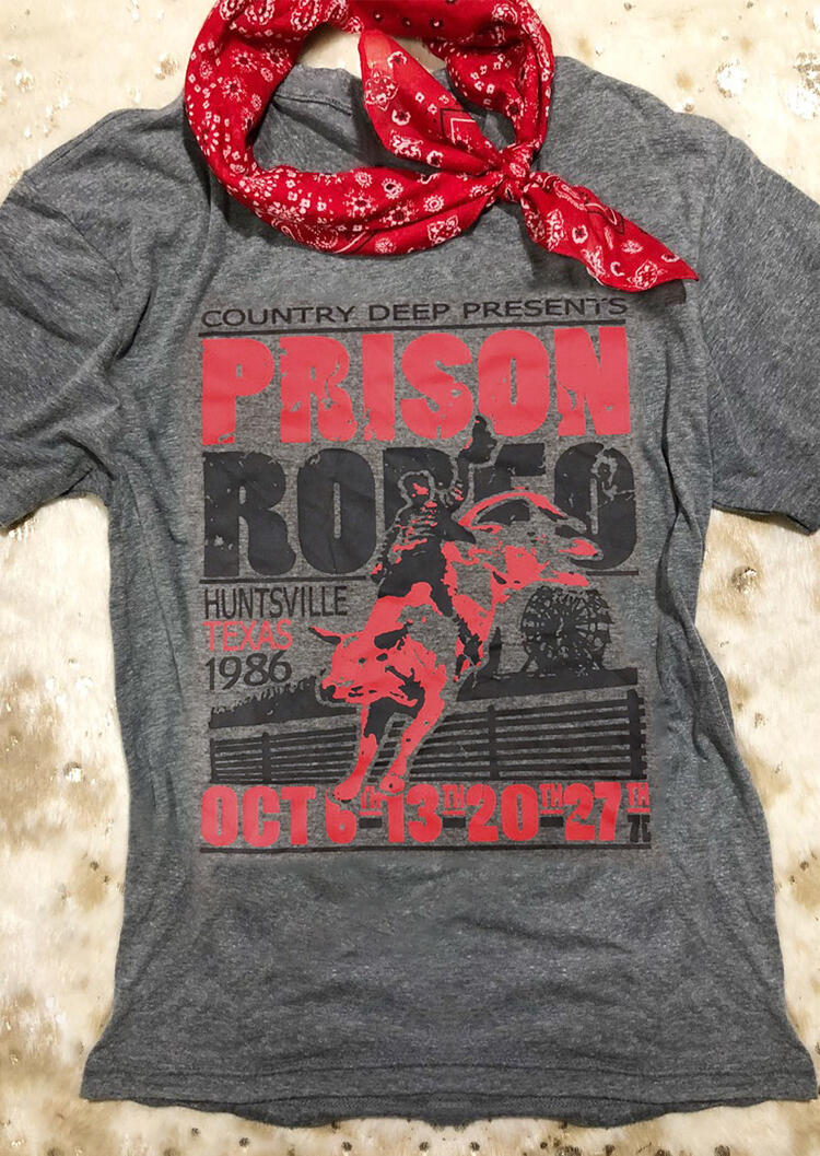 Prison Rodeo O-Neck T-Shirt Tee - Gray