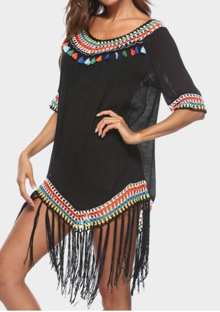 Pompon Splicing Fringe Cover Up -Black
