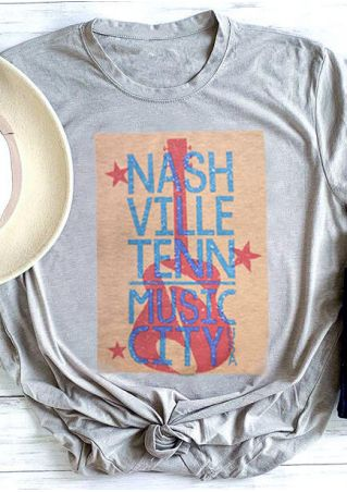 Music City Guitar T-Shirt Tee - Gray