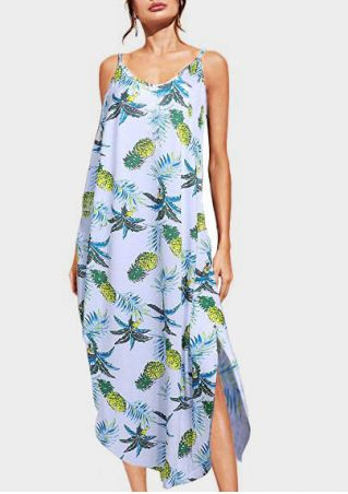 Pineapple Slit Spaghetti Strap Maxi Dress - Light Blue