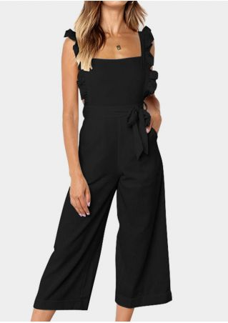 Solid Ruffled Pocket Jumpsuit without Necklace - Black