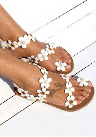 Flower Round Toe Flat Sandals - White