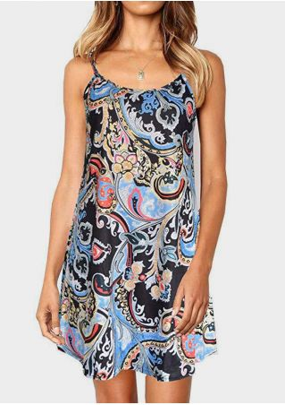 Printed Spaghetti Strap Mini Dress - Black
