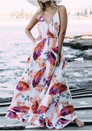 Leaf Deep V-Neck Maxi Dress - Orange