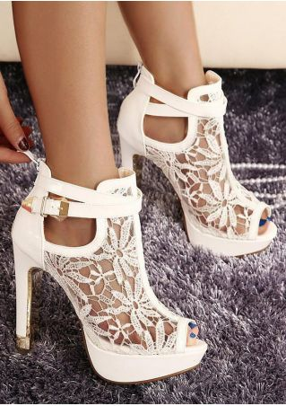 Lace Floral Ankle Peep Toe High Heeled Sandals