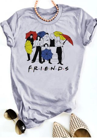 Friends O-Neck Short Sleeve T-Shirt Tee - Gray