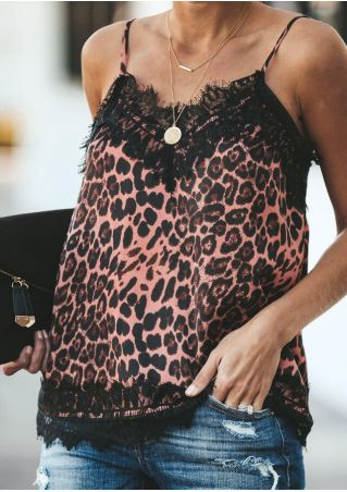 Leopard Printed Lace Splicing Camisole without Necklace - Leopard
