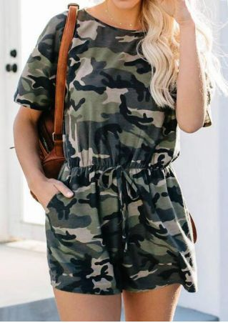 Camouflage Printed Pocket Romper - Camouflage