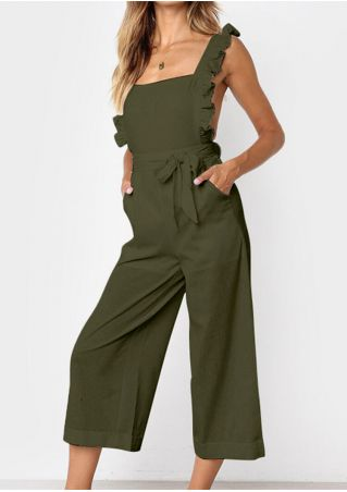 Solid Ruffled Pocket Jumpsuit without Necklace - Army Green