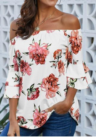 Floral Off Shoulder Blouse without Necklace - White
