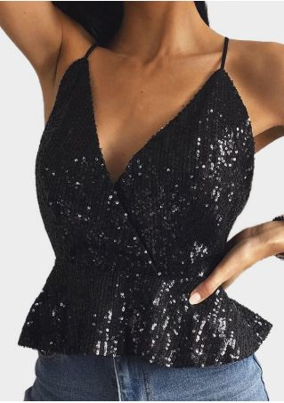 Solid Sequined V-Neck Camisole -Black